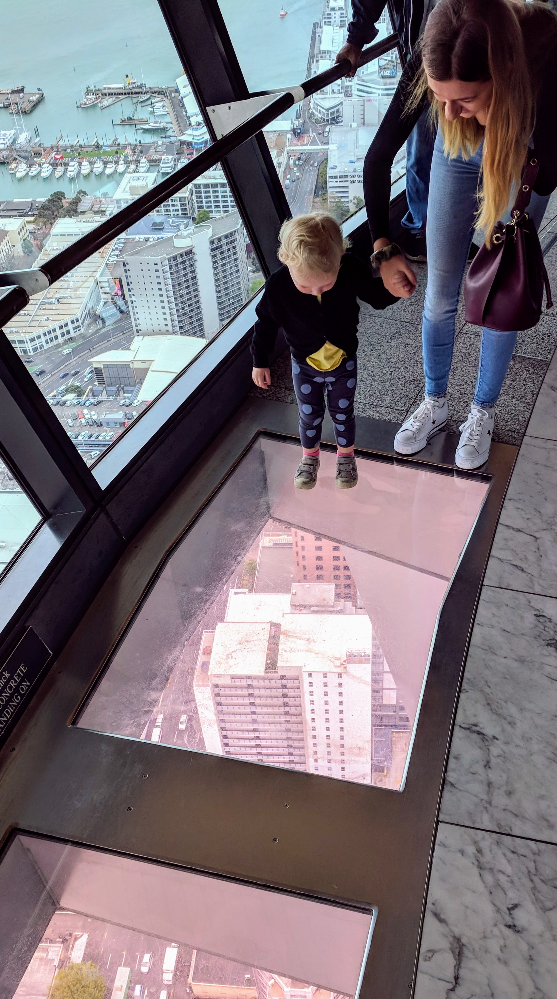 Toddler and Mum on the Sky Tower glass floor