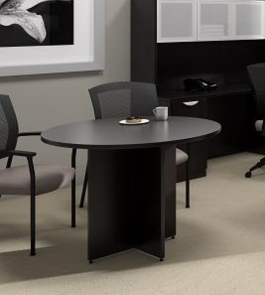 Espresso Meeting Table with Round Top by Offices To Go