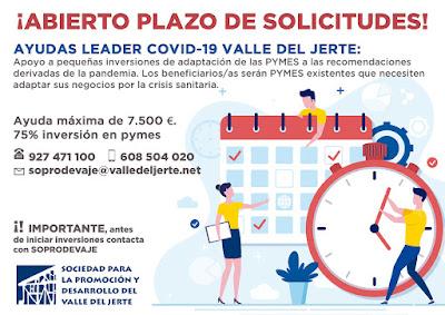 ABIERTA CONVOCATORIA DE AYUDAS LEADER COVID-19 EN EL VALLE DEL JERTE