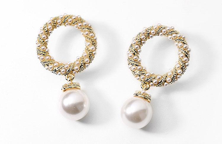 典雅簡約風圈圈擬珍珠耳環