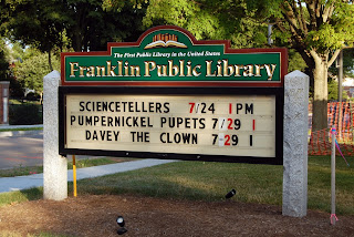 Note: the sign is wrong in that Davey the Clown is Friday, the 31st