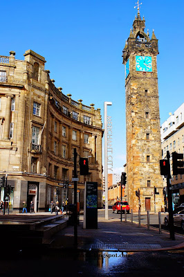 Tolbooth Steeple and the Merchant City sign, Glasgow, Scotland, UK
