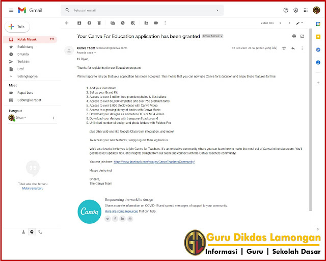 Notifikasi Email Canva Pro Untuk Pendidikan