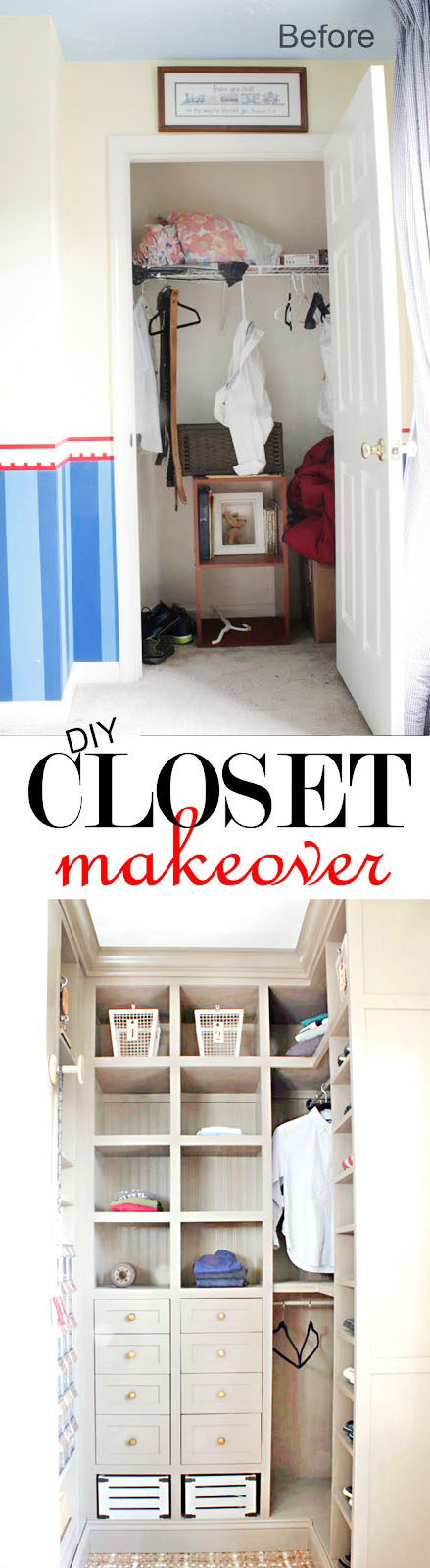 Boy room closet makeover - lots of storage added