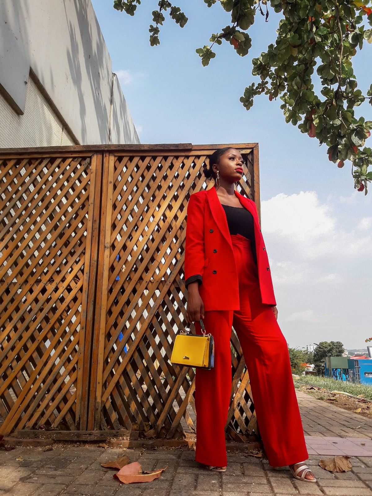 Red, suit, women, outfit, trend, 2019