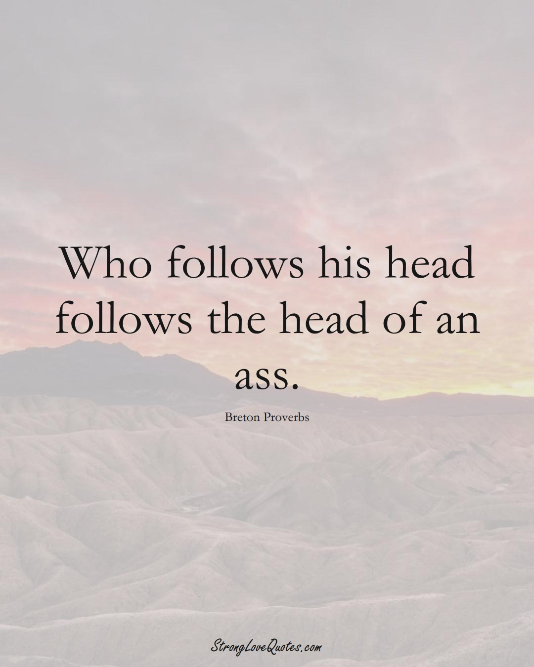 Who follows his head follows the head of an ass. (Breton Sayings);  #aVarietyofCulturesSayings