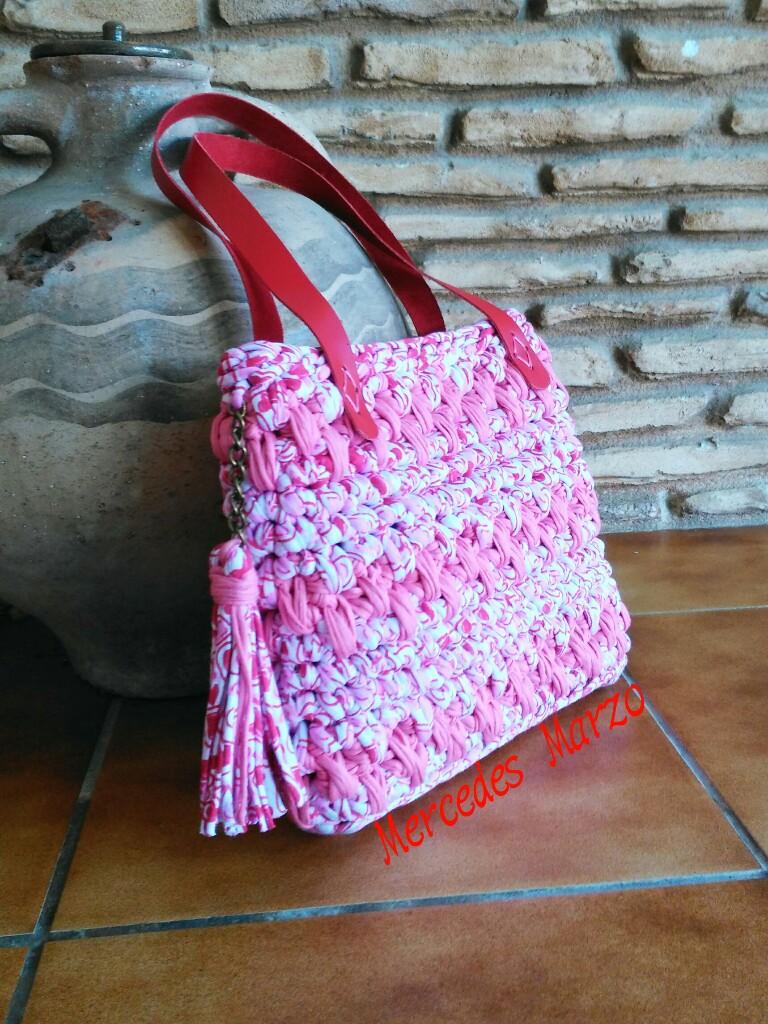 Crochet o ganchillo divertido y veraniego bolso de for Bolso crochet trapillo