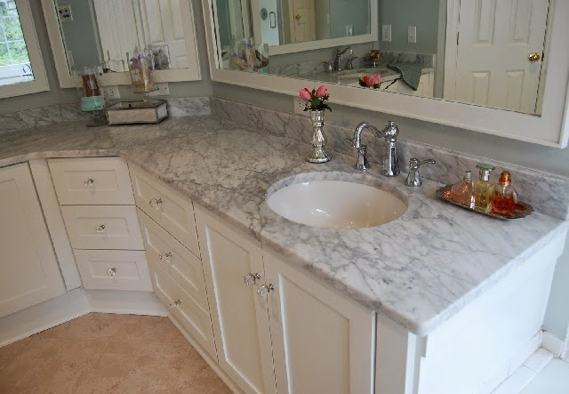 L-shape Marble Sink Bathroom Countertops