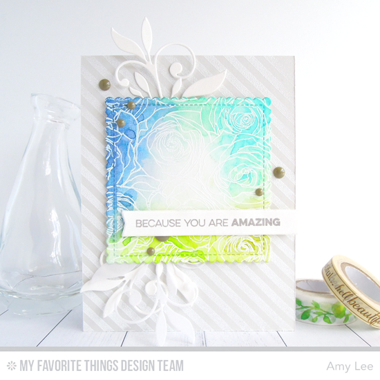 Handmade card from Amy Lee featuring Roses All Over Background and Bold Diagonal Stripes Background stamps, Simple Leaf Flourishes, Stitched Mini Scallop Square STAX, and Blueprints 27 Die-namics #mftstamps