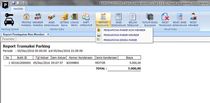 Aplikasi Parkir indowebsoft report