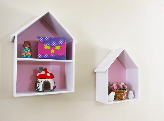 DIY: Como Fazer Nichos de Papelão em Formato de Casinha - Decoração Quarto Infantil