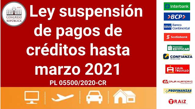Ley suspensión de pagos de créditos hasta marzo 2021 preparada por el Congreso del Perú