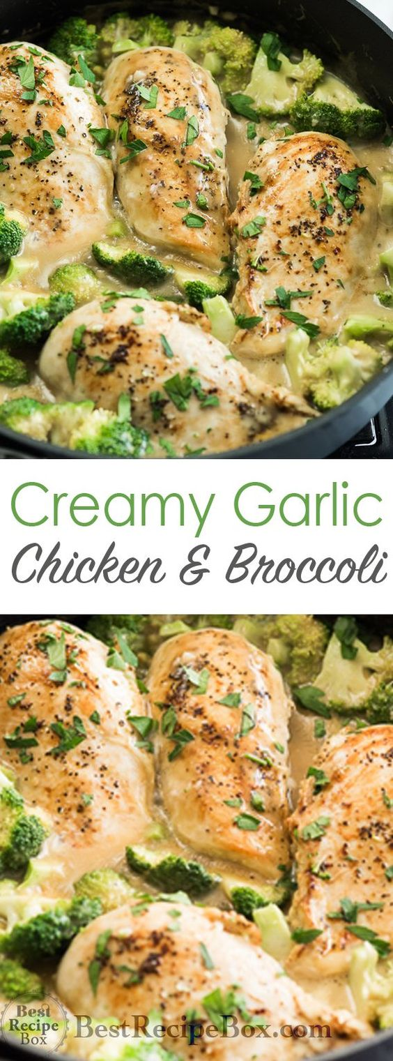 BEST SKILLET CREAMY GARLIC CHICKEN WITH BROCCOLI