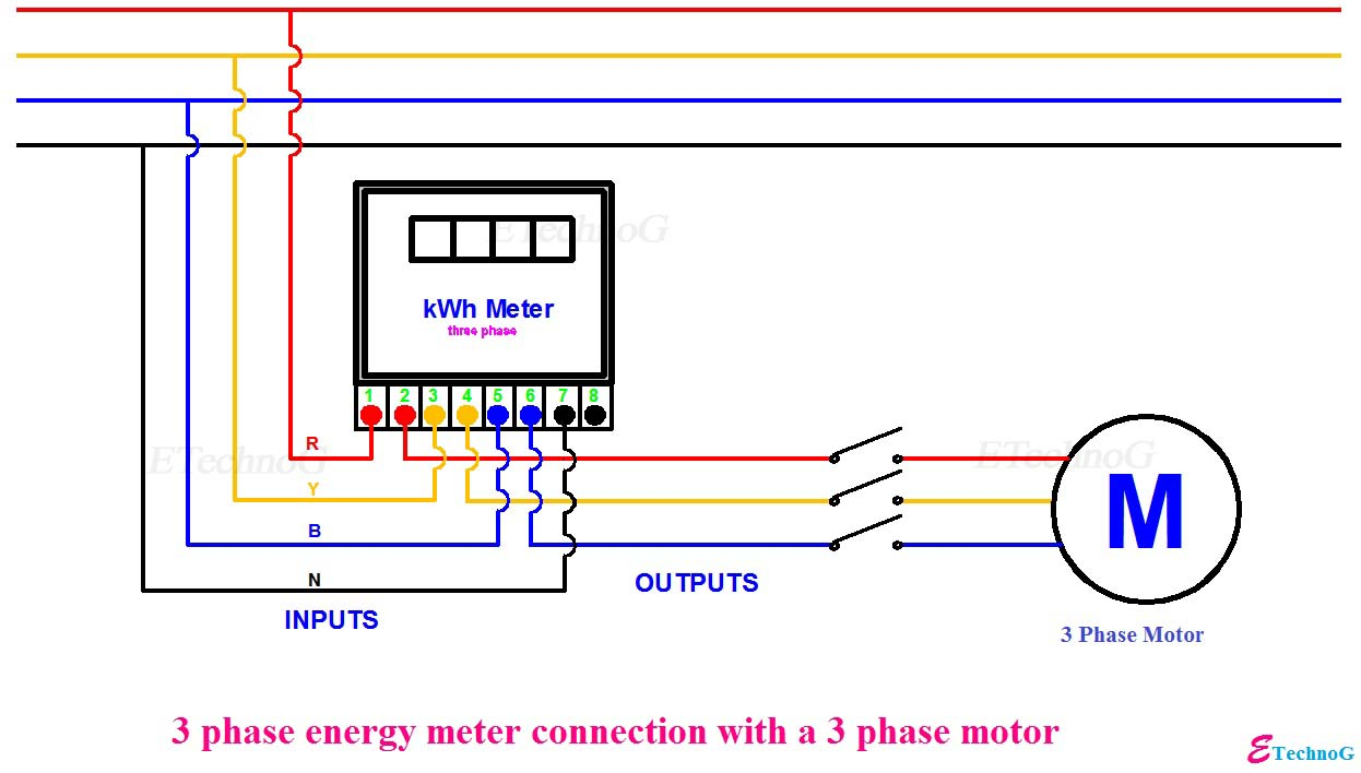 3 Phase Meter Wiring Diagram On - Schematics Online on
