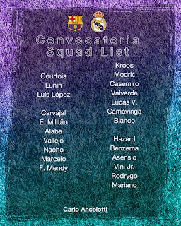 Los convocados  por Ancelotti para enfrentar al Barcelona