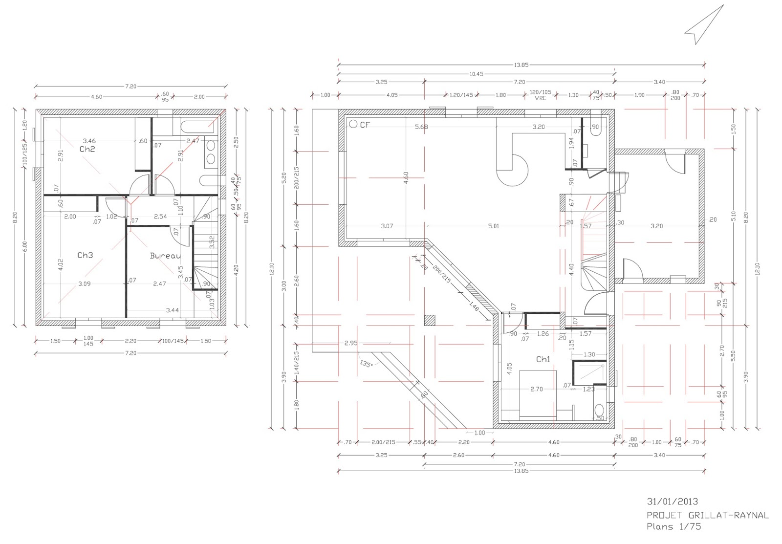 Plan maison cubique etage for Plan maison 60m2