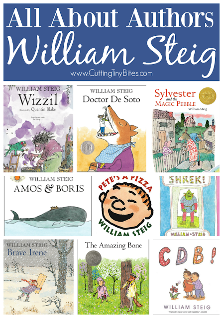 All About Authors- William Steig. Biographical information, book list, activities and crafts, along with other resources to support books written by William Steig, author of Sylvester and the Magic Pebble, Doctor De Sotor, Pete's A Pizza, Shrek, and more!