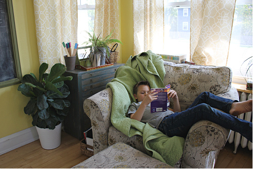 Reading on a cozy chair
