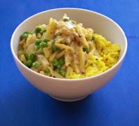 veganes malai mutter mit curry-reis - hauptspeisen