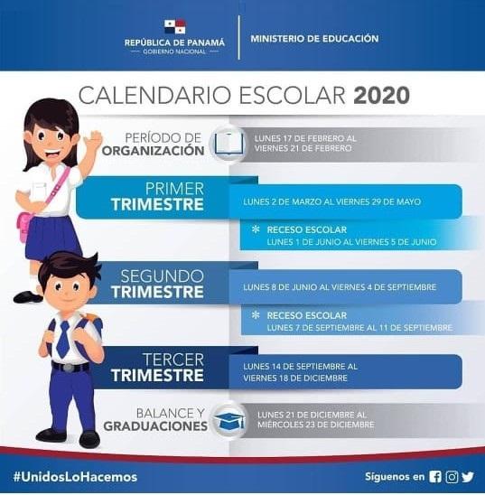 Calendario Escolar 2020 Panamá