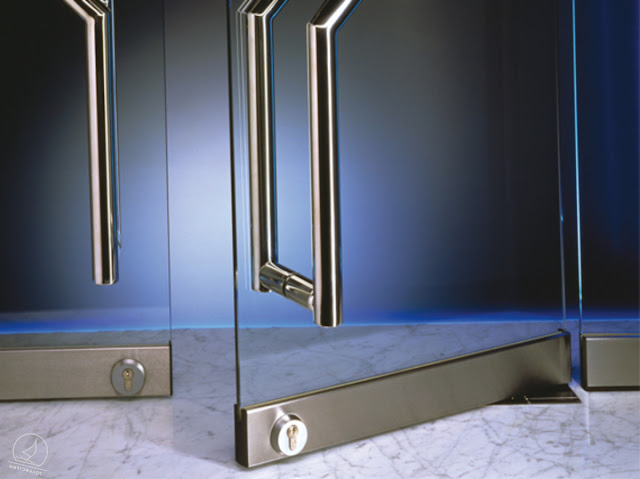 Where are glass swing doors used