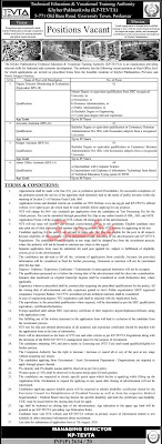Khyber Pakhtunkhwa Technical Education & Vocational Training Authority Jobs 2020,NTS