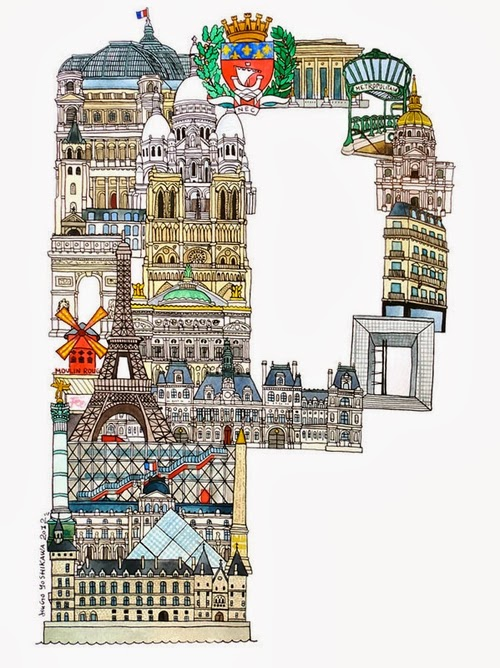 16-P-Paris-France-Hugo-Yoshikawa-Illustrated-Architectural-Alphabet-City-Typography-www-designstack-co