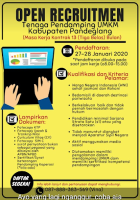 Lowongan Kerja Open recruitment Tenaga Pendamping UMKM Kabupaten Pandeglang