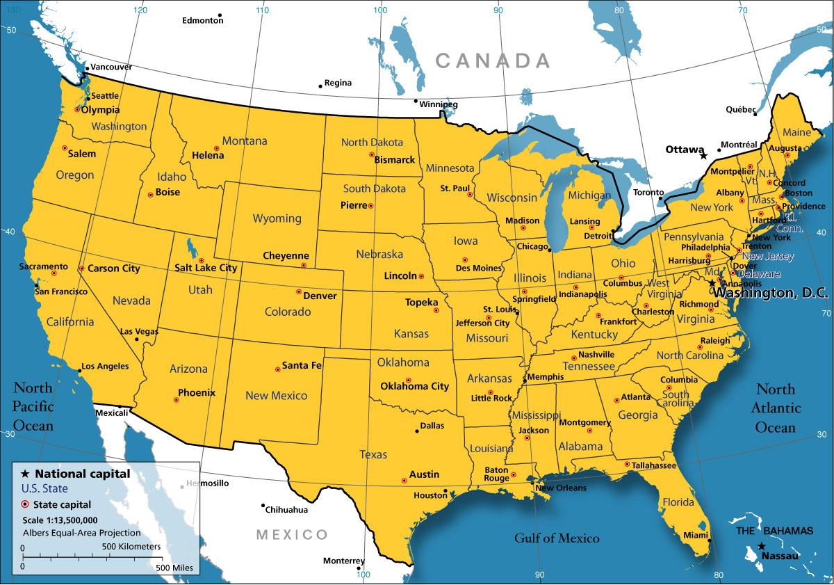 Cartina Stati Uniti Politica E Fisica
