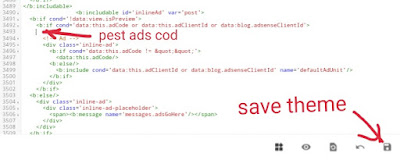 Blogger Theme me in-feed Ads Code kaha pest Kare (Step By Step Tutorial), in-feed Ads Code <body> me kaise lagaye