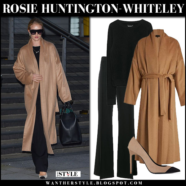 a33565ce4aa3 Rosie Huntington-Whiteley in camel coat nili lotan, black trousers and  suede pumps saint