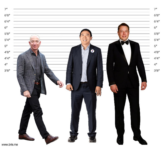 Andrew Yang height comparison with Jeff Bezos and Elon Musk