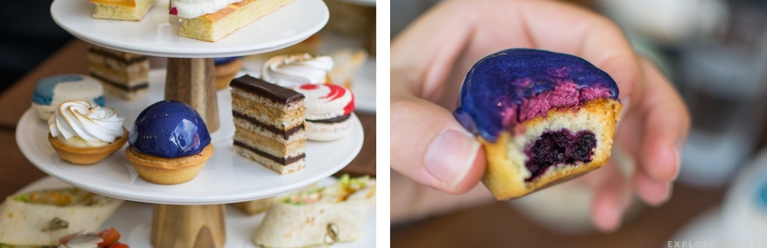 Cake stand, glittery berry tart