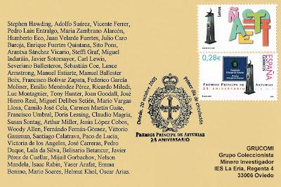 filatelia, sello, Premios, Príncipe de Asturias, matasellos, PDC
