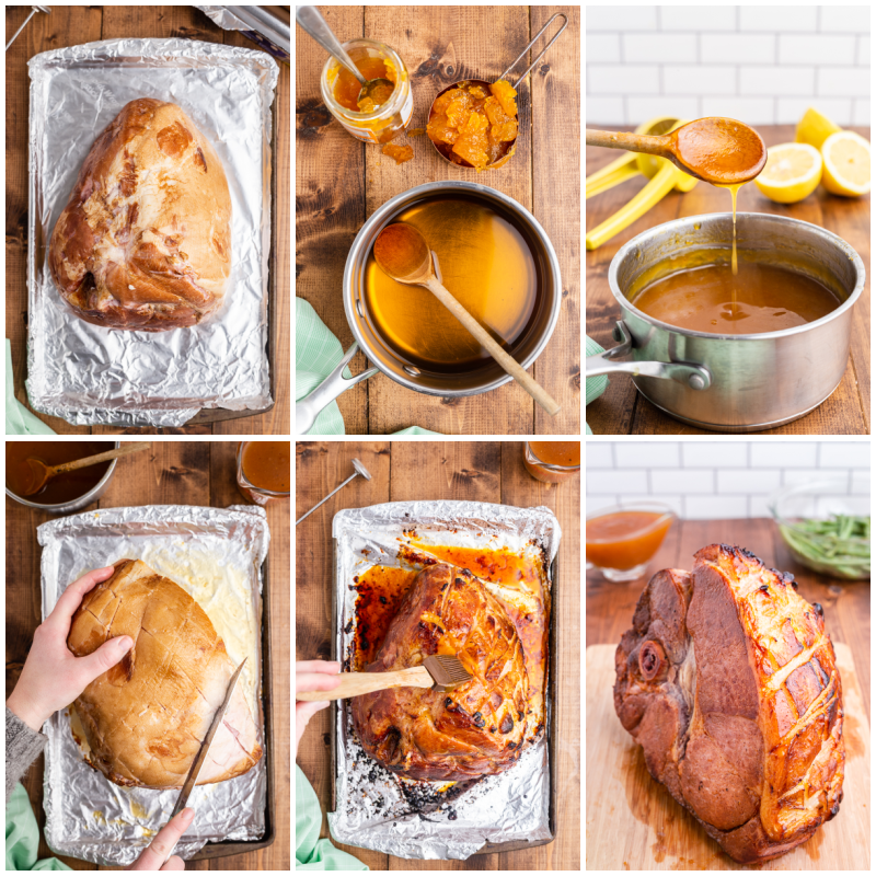 Six photos of the process of making Keto Apricot Bourbon Glazed Ham.