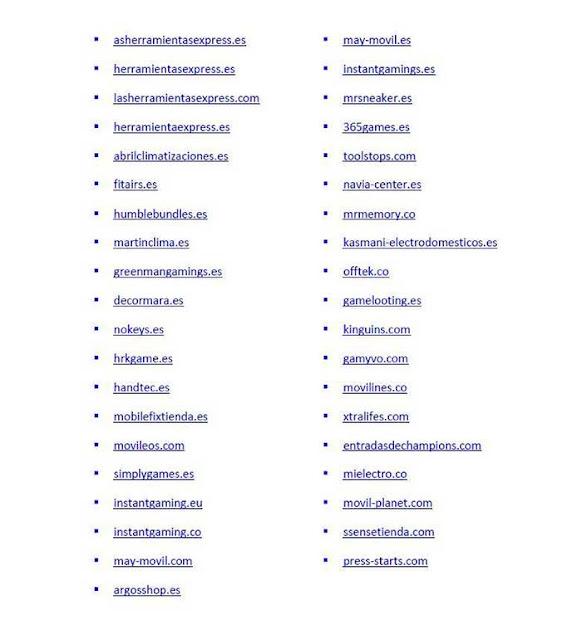 La lista de las webs de la red de estafadores detenidos en España el 5 de junio 2019
