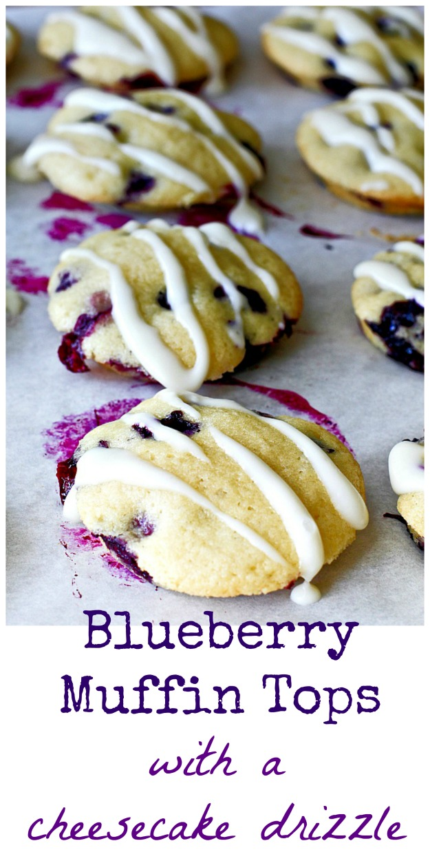 Blueberry Muffin Tops with a Cheesecake Drizzle
