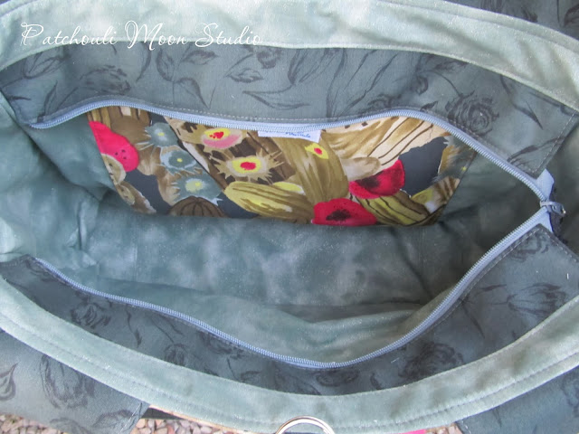 Looking inside the yoga bag from the top.