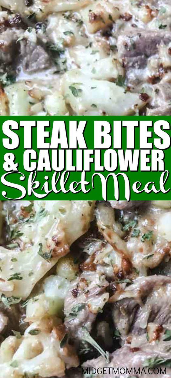 Creamy Steak Bites and cauliflower Skillet