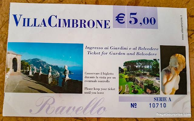 Ingresso para a Villa Cimbrone, Ravello, Costa Amalfitana