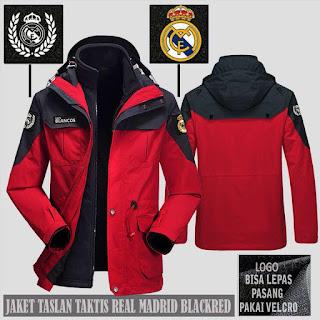 Jaket Gunung Hoodie Waterproof Taktis Real Madrid