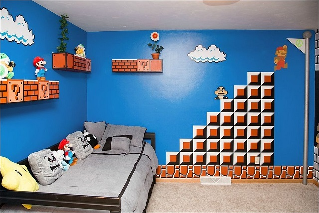 dormitorios infantiles de mario bros. Black Bedroom Furniture Sets. Home Design Ideas