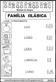 Famílias silábicas alfabetização letra L