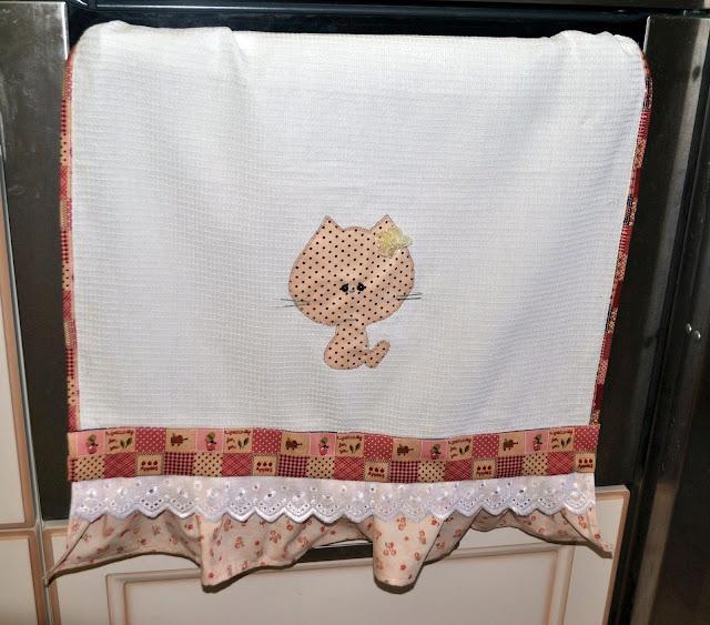 Полотенце, кухонное полотенце, кошки, аппликация