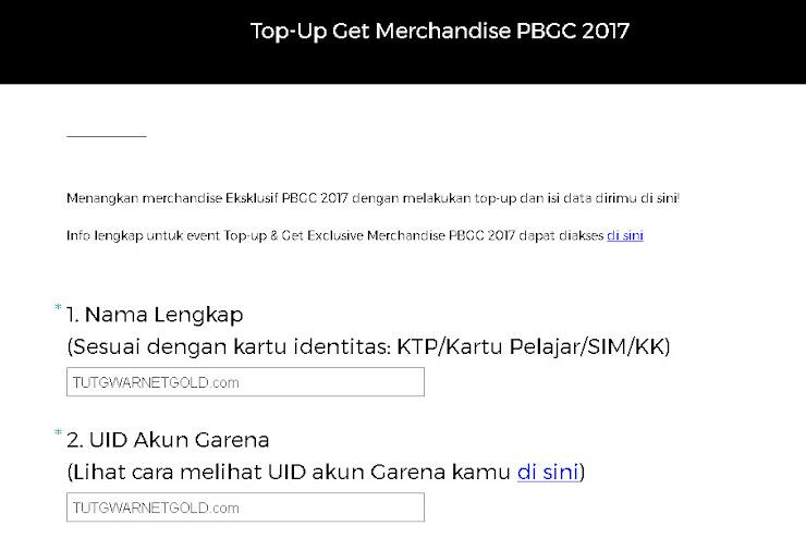 Event PB Garena Top Up Dapatkan Merchandise PBGC 2017