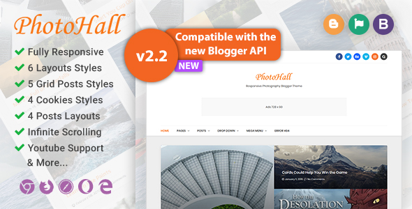PhotoHall Responsive Photography Blogger Theme Preview