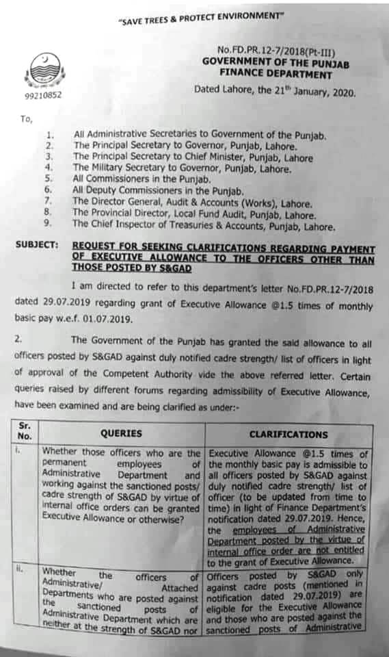 CLARIFICATION REGARDING PAYMENT OF EXECUTIVE ALLOWANCE TO OFFICERS OTHER THAN POSTED BY S&GAD