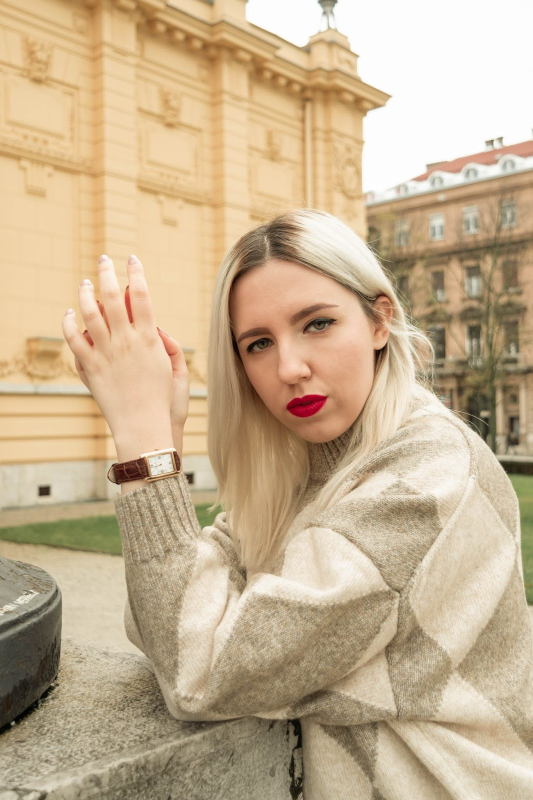 Fashion blogger wearing Fall sweater, red lipstick and Dean Brochard Classique timepiece with dark brown leather strap