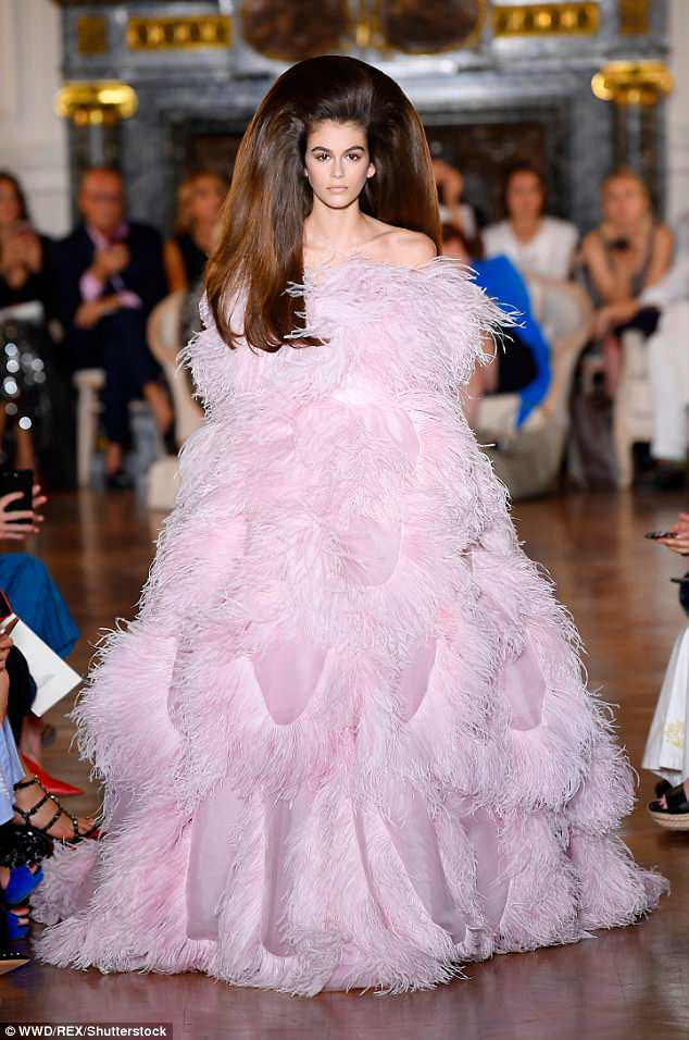 Kaia Gerber goes dramatic for the Valentino Haute Couture Runway