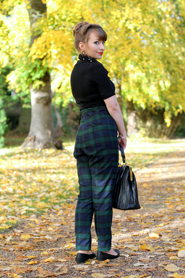 Collectif Bonnie blackwatch cigarette pants autumn outfit